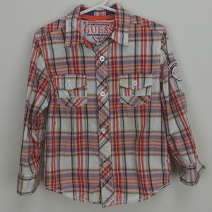 Guess plaid button up with tab sleeves